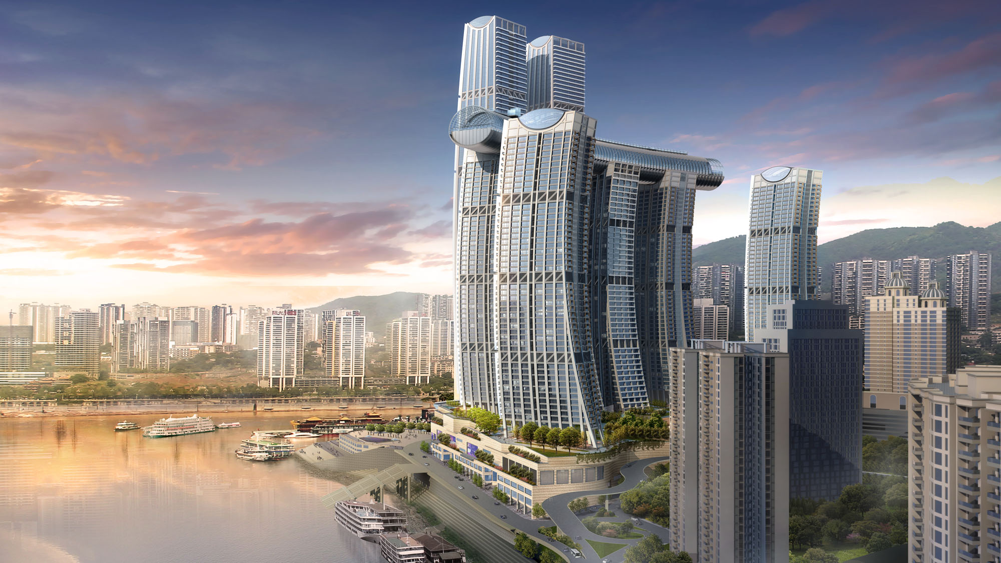Raffles City Chongqing sideview2000x1125c Safdie Architects  CapitaLand China Investment Co Ltd3
