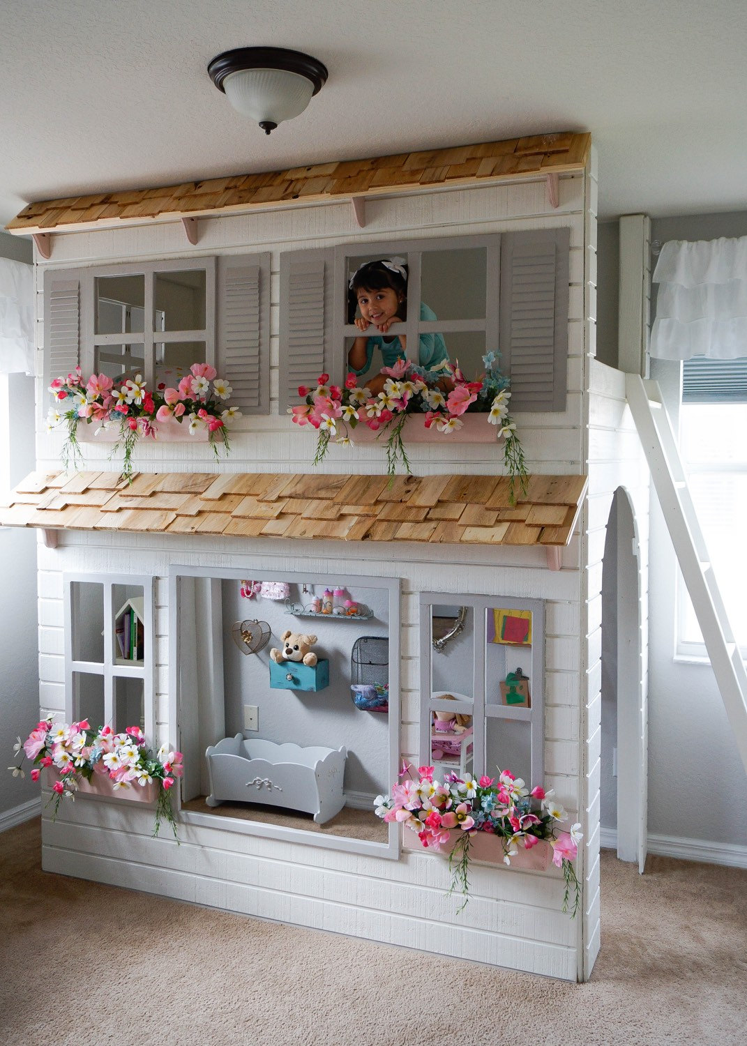 Custom-Dollhouse-Cottage-Loft-Bed